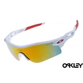 oakley radarlock sunglasses in white and fire iridium