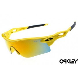 oakley radarlock sunglasses in neon yellow and fire iridium