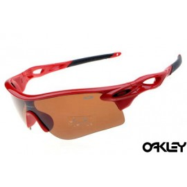 oakley radarlock sunglasses in polished red and persimmon