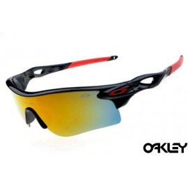 oakley radarlock sunglasses in polished black and fire iridium for sale