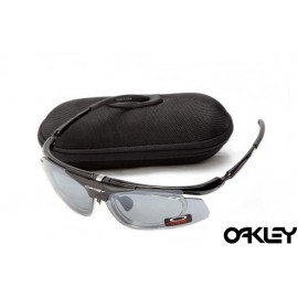 Oakley double lens sunglasses in polished black and clear iridium for sale