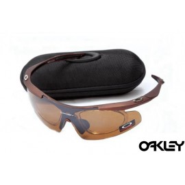 Oakley double lens sunglasses in dark brown and tungsten iridium