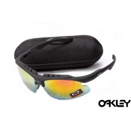 Oakley double lens sunglasses in matte black and fire iridium for sale