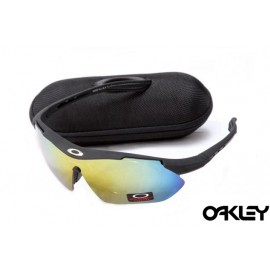 Oakley double lens sunglasses in matte black and fire iridium