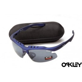 Oakley double lens sunglasses in matte blue and grey iridium for sale