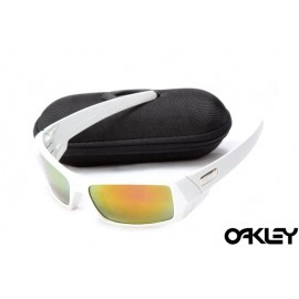 Oakley gascan sunglasses in white and fire iridium for sale