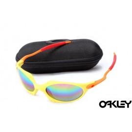 Oakley juliet sunglasses in enamel yellow and orange and fire iridium