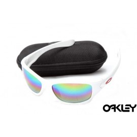Oakley pit bull sunglasses in white and colorful iridium
