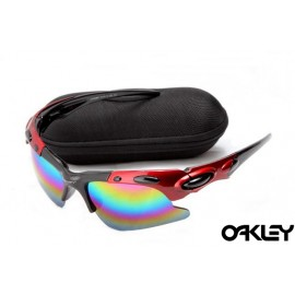 Oakley plate sunglasses in black and red and colorful iridium