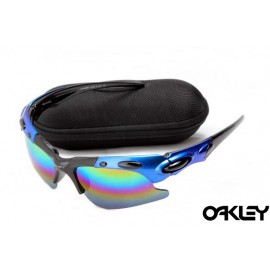 Oakley plate sunglasses in black and blue and colorful iridium