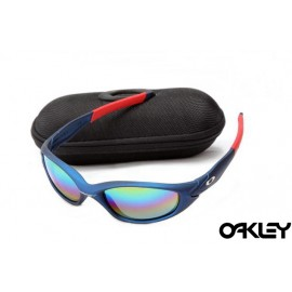 Oakley straight jacket sunglass matte blue and colorful iridium