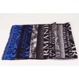 Armani wool scarf black / blue logo
