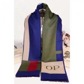 Burberry cashmere op scarf olive / blue/ beige