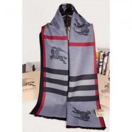 Burberry check cashmere scarf gray with Burberry logo