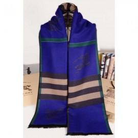 Burberry Navy blue check cashmere scarf with Burberry logo