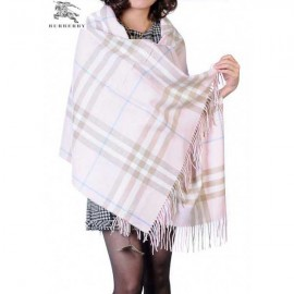 Burberry check merino wool cashmere wrap light pink for sale