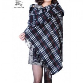 Burberry check merino wool cashmere wrap black