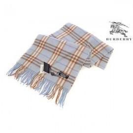 Burberry check cashmere scarf light blue