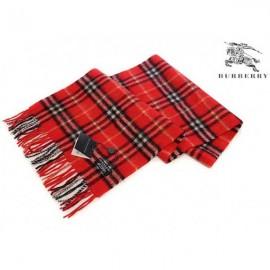 Burberry check cashmere scarf carmine