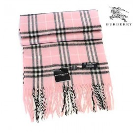 Burberry check wool cashmere scarf pink