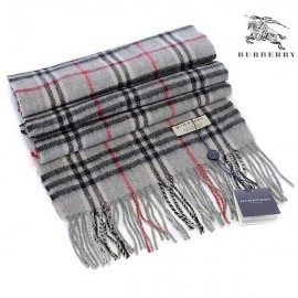 Burberry check wool cashmere scarf gray
