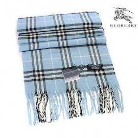 Burberry check wool cashmere scarf light blue