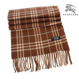 Burberry check wool cashmere scarf brown
