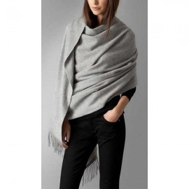 Burberry embroidered cashmere stole mid grey