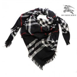 Burberry check merino wool square scarf black