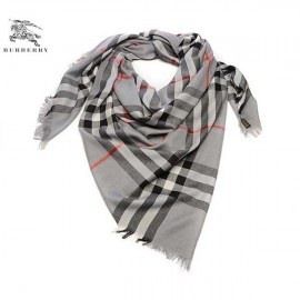 Burberry check merino wool square scarf gray