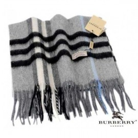 Burberry gray with black stripe check cashmere scarf