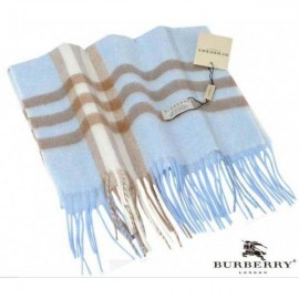 Burberry check cashmere scarf blue with brown stripe
