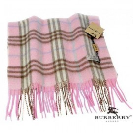 Burberry pink check cashmere scarf