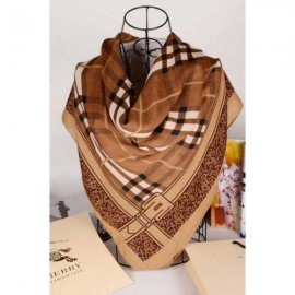 Burberry brown square check wool silk scarf