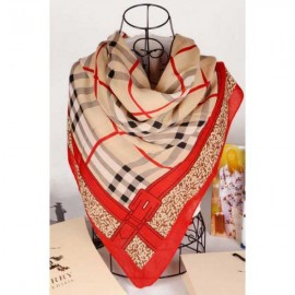 Burberry check wool silk gold square scarf stitched red edges