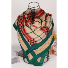 Burberry wool silk gold square scarf stitched green edges online