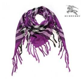 Burberry wool scarf purple check