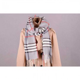 Burberry heritage check wool silk scarf gray