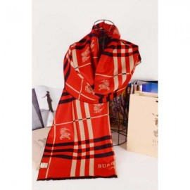 Burberry wool silk scarf red with Burberry logo