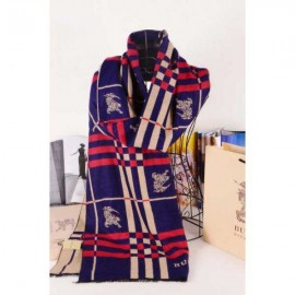 Burberry wool silk scarf navy with Burberry logo