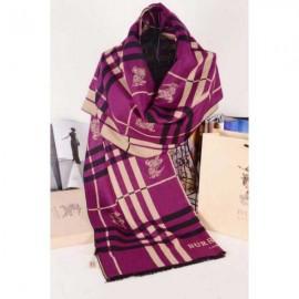 Burberry wool silk scarf purple with Burberry logo
