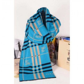 Burberry wool silk scarf sky blue with Burberry logo