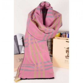 Burberry wool silk scarf pink heather with Burberry logo
