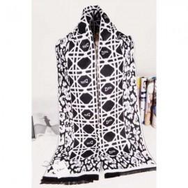 Dior wool scarf white / black