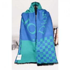 Dior wool scarf blue plaid style