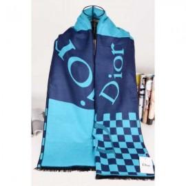 Dior wool scarf navy plaid style
