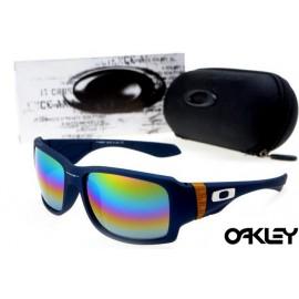 oakley big taco sunglasses in matte blue and fire iridium