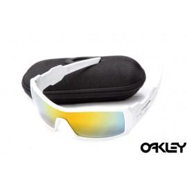 Oakley oil drum sunglasses in white and fire iridium for sale
