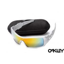 Oakley oil drum sunglasses in silver and fire iridium