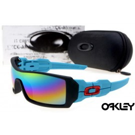Oakley oil rig sunglasses in neon blue and black and camo iridium